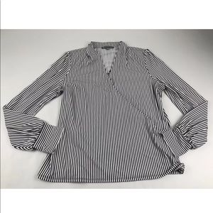 Adrianna Papell Black Striped V Neck Blouse SZ L